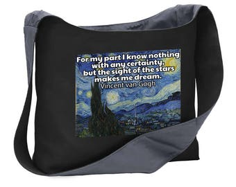 Nan Gogh quote starry night wide strap shoulder sling bag tote purse