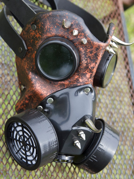 Leather art Warrior Man LED light Steampunk gas mask Halloween comiccon burning