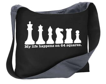 My life...chess wide strap shoulder sling bag tote purse computer pieces game board