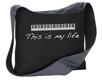 This is my life music piano keyboard wide strap shoulder sling bag tote purse