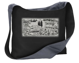 skeleton party Skulls wide strap shoulder sling bag tote purse