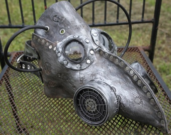 Leather Plague Doctor Steampunk Burning Man Mask with goggles