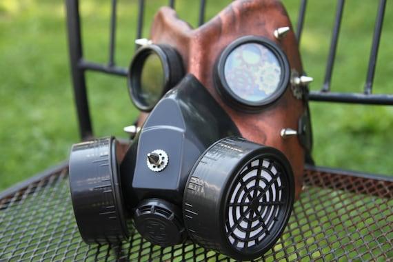 Leather gas mask handmade LARP burning steampunk man  comiccon