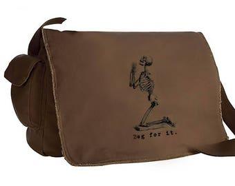 Beg for it skeleton Raw Edge Messenger Bag computer tote shoulder purse