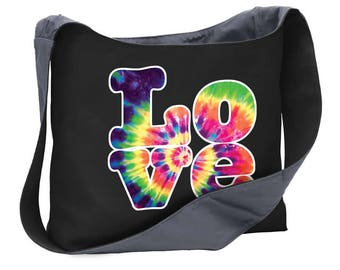 Love peace happiness 60s hippie tie dye wide strap shoulder sling bag tote purse