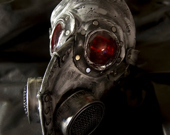Steampunk leather gas mask - Halloween comicon, robot  horror