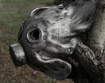 Handmade Leather Art  Plague Doctor Steampunk Burning Man Mask with lenses Gas mask