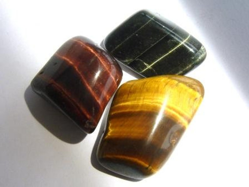 Golden  Red  Blue Tigers Eye Tumbled & Rough Golden Gemstone image 0