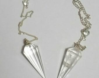 Pendulum - Gemstone - Rose Quartz, Smoky Quartz