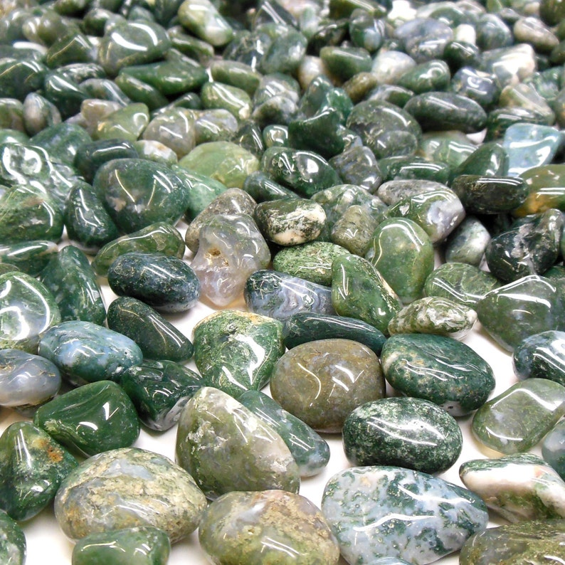 Moss Agate    Tumbled Gemstone Crystal  Protection Healing image 0