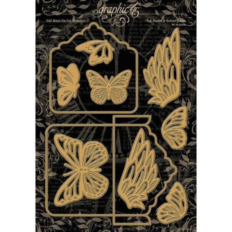 Graphic 45 Tag Pocket And Butterfly Metal Dies Staples Collection