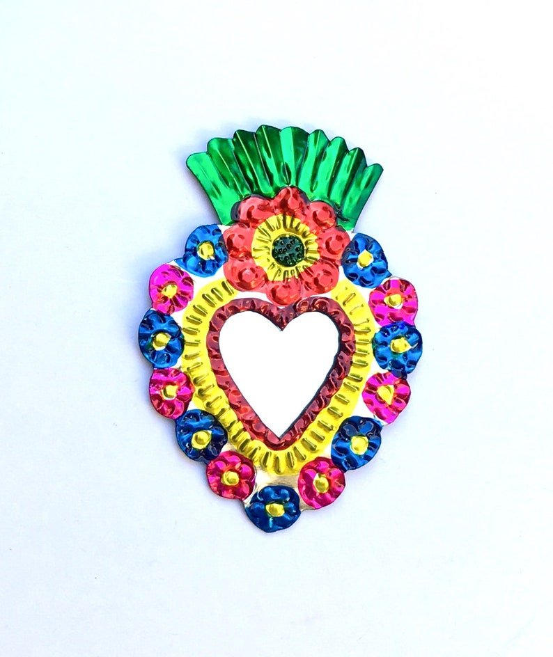 Mexican Tin Milagro Ornament Heart /& Flowers Love Token Handmade Folk Art Oaxaca