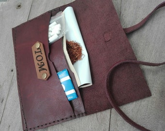 Leather Tobacco Pouch Tobacco Rolling Cigarette Case Distressed Custom Rustic Hand Stitched Personalized Gift for him Roll Anniversary Gift