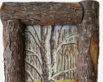"""small folk art watercolor painting in """"log"""" frame"""