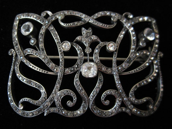 Edwardian sterling silver & paste brooch