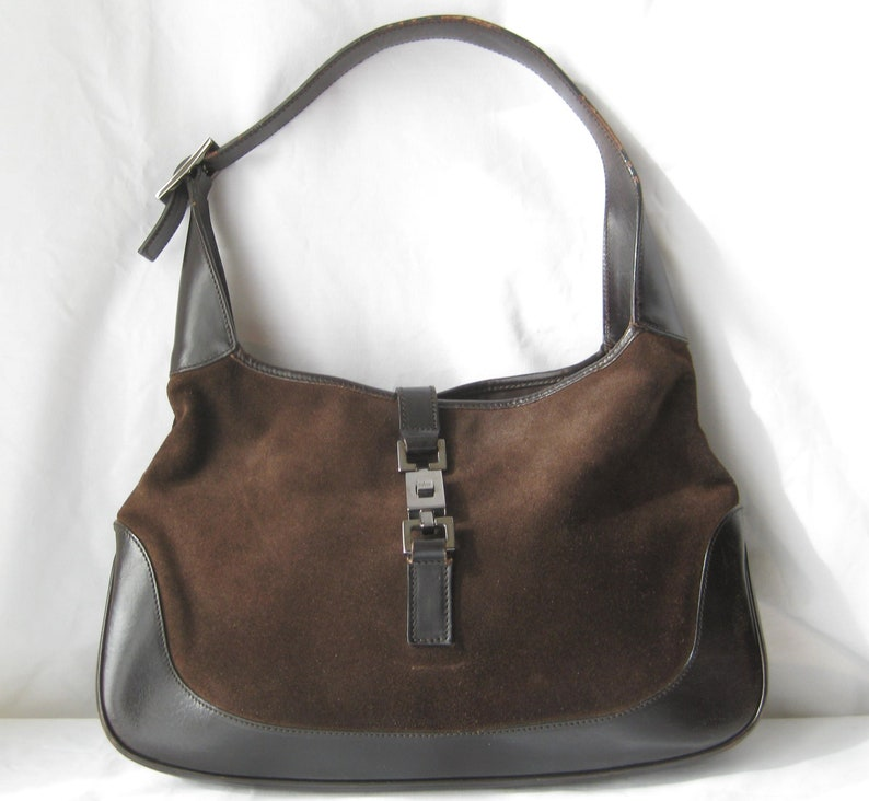 4457eaaa3e4 Brown leather   suede vintage Gucci hobo handbag with