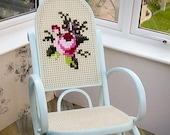 SOLD SOLD SOLD Bentwood rocking chair Upcycled with embroidery