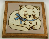 Cat Trivet, Country Cat, Happy Cat, Fiesta Tile Trivet, 1983. Trivet or wall decor for country home. Good quality, heavy, built to last.
