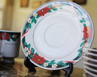 Tienshan Deck the Halls saucers, Christmas dishware, holiday dishware, poinsetta dishes, discontinued, Merry Christmas, Holiday