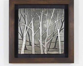 Nickel Metal Art, Etched Nickel, Moon Lit Trees, Metal Wall Art, Framed Art,  Nature Art, Free Shipping By Daartshop