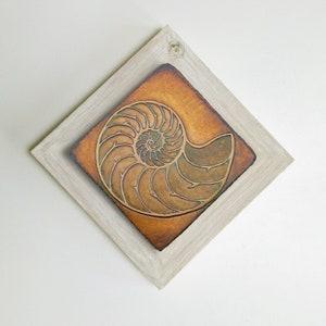 Metal Etched Sand Dollar 5.5 Square Rustic Cedar Framed Wall Art Etched Nickel Wall Decor by daartshop