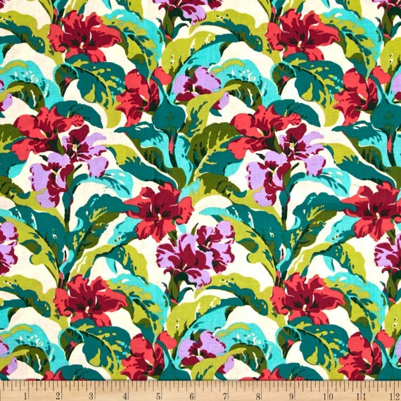 Amy Butler Tropi Canna Fabric By The Yard Floral Cotton Etsy