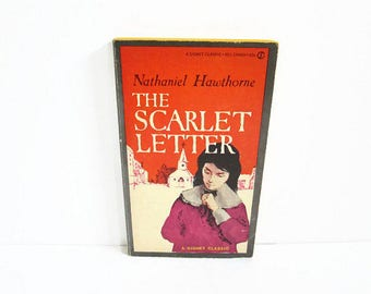 Vintage Paperback Book, The Scarlet Letter by Nathaniel Hawthorne, A Signet Classic New American Library, American Author, Puritans