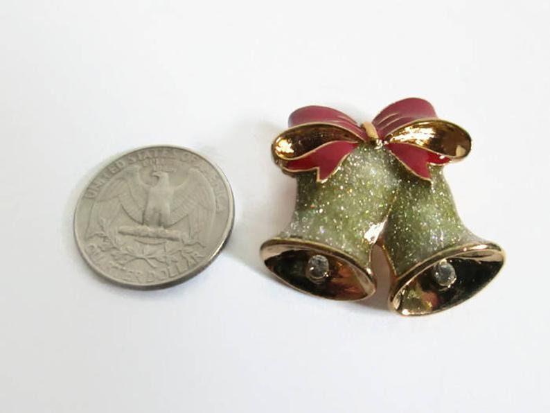 Bell Enamel Metal Pin Christmas Holiday Jewelry Original Box Vintage Avon Festive Holiday Brooch Pin