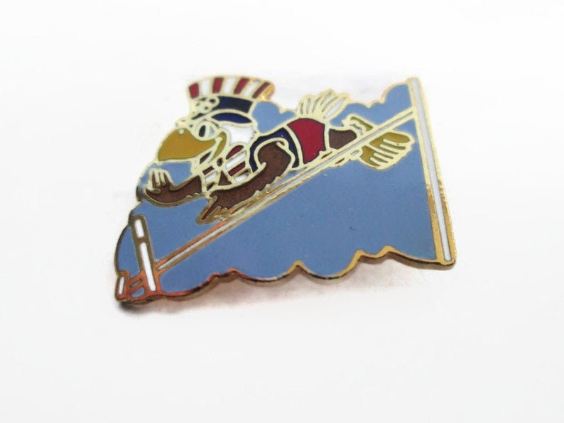 Pole Vault Sport of Track and Field Vintage Olympic Pin Los Angeles California USA Official Mascot Sam the Bald Eagle 1984 Summer Games
