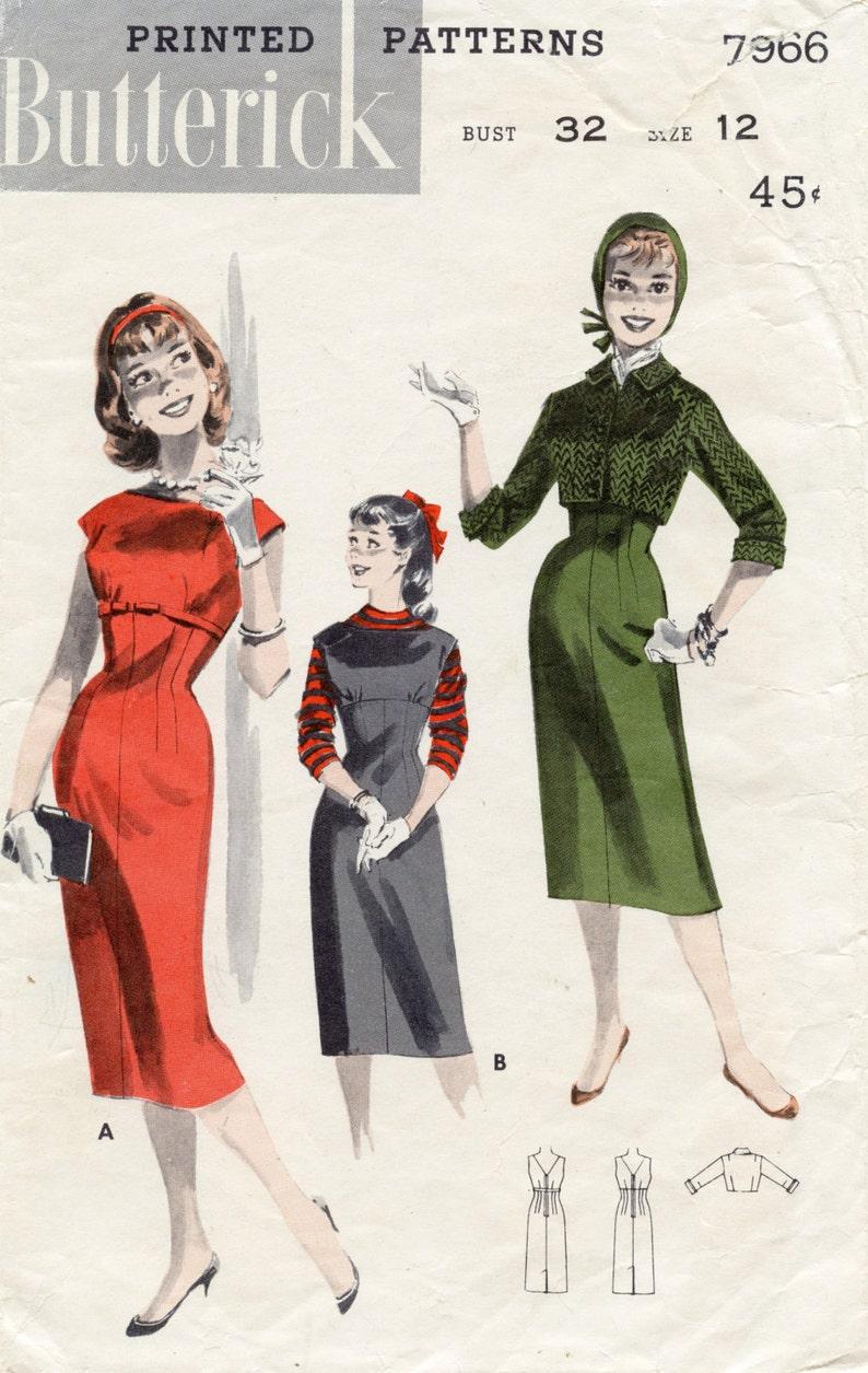 8186912eaf 1950s Jumper Dress and Jacket Vintage Sewing Pattern / Slim | Etsy