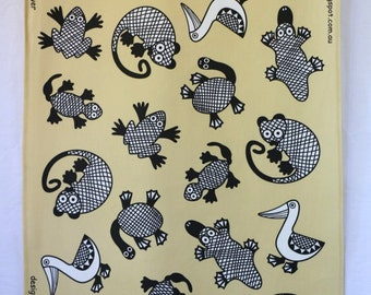 Australian Animals Tea Towel - cream
