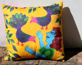 Blue Lady and Peacocks Australian Cushion Cover