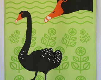 Black Swan tea towel - green