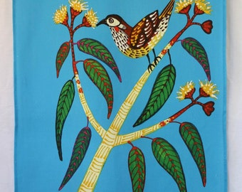 Blue Wattle Bird Australian Tea Towel