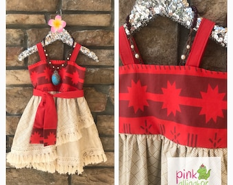 May Delivery   Handmade Moana Dress 12m To Girls Size 10 For Birthday,  Parks, Party Outfit, Christmas Gift