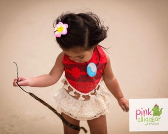 July delivery - Moana Costume Outfit for Birthday Pictures Anyday Bloomers Bohemian Style Boho 3m to 2T
