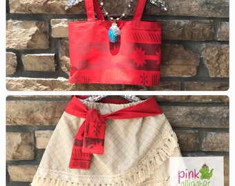 July delivery - MOANA costume outfit 2pc custom set - Sizes 12m to girls 8 -  Birthday gift party