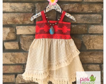 Halloween delivery - USA Boutique Handmade Moana dress 12m to girls size 10 for birthday, parks, party outfit, christmas gift, Halloween