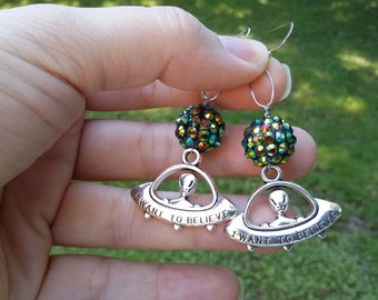 Out of this world space galaxy, earrings.