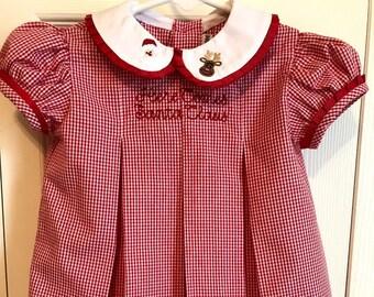 77750eb60862 Baby/Girls' Christmas Dress, Santa and Rudolph Dress, Christmas Dress,  Classic Girls Christmas Dress