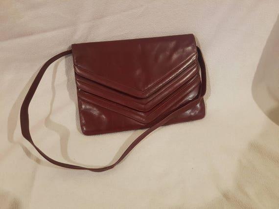 KORET Burgundy Leather Envelope Clutch Bag