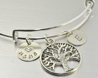 Tree of Life Bracelet,1-10 Family Initial Bracelet,Family Tree Bracelet,Nana Bracelet,Gigi Bracelet,Mimi Bracelet,Grandma Gift,Mom's Gift