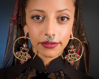Vedora Double Silver Snake Earrings Brass Hoop Earrings Ear Etsy