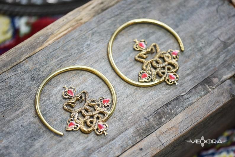 Vedora Double Snake Earrings Brass Hoop Earrings Ear Weights Tribal Earrings Coral Inlay Tribal Jewelry Serpent Earrings Dangle Plugs Gauged