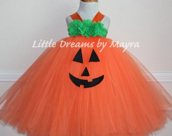 Pumpkin tutu dress and matching hairpiece size nb to 10years