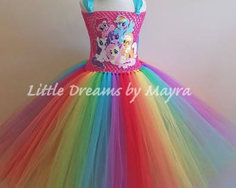 9e9e009b1424 My Little Pony inspired tutu dress - MLP birthday party tutu dress  inspired, Rainbow dash costume inspired size nb to 12years