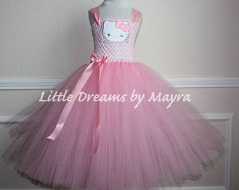 3b9eb3359 Pink Hello Kitty inspired tutu dress and matching bow, Hello Kitty birthday  party inspired tutu dress size nb to 14years
