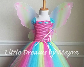 Affordable rainbow butterfly tutu dress with wings, wand and hairclip, Princess fairy butterfly costume size newborn to 14years