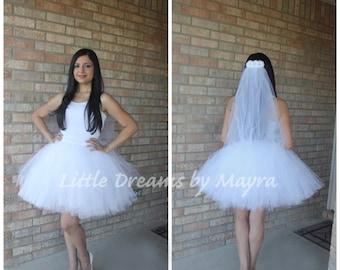 29f417a13 Bride bachelorette tutu skirt and veil, bridal tutu set, fun bachelorette  party decorations, Bachelorette party outfit
