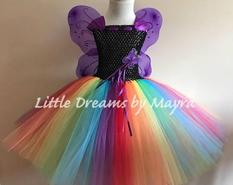 Rainbow butterfly tutu outfit, Halloween butterfly with wings, wand and hairclip, Princess fairy butterfly costume size newborn to 14years